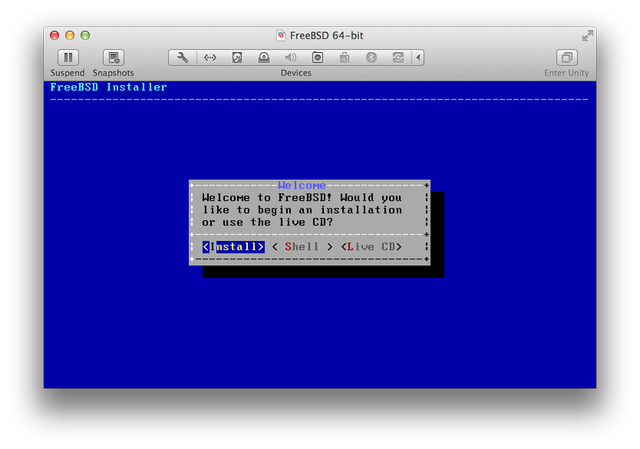 FreeBSD installer Welcome screen