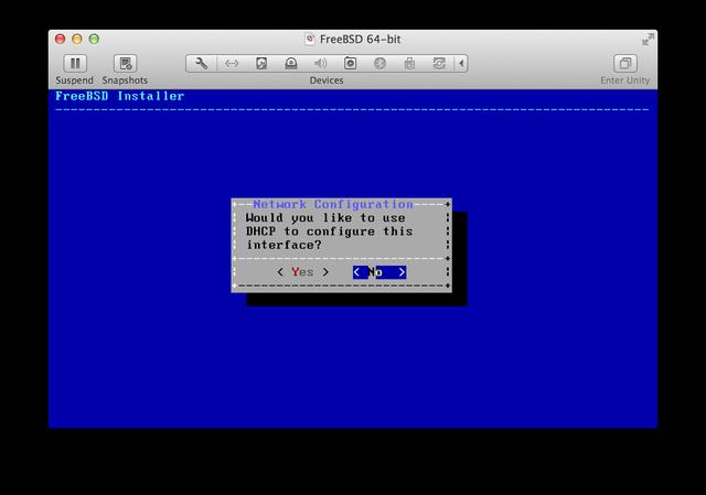 FreeBSD installer static IP address
