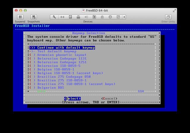 FreeBSD installer Keymap Selection