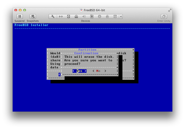 FreeBSD installer UFS Entire Disk