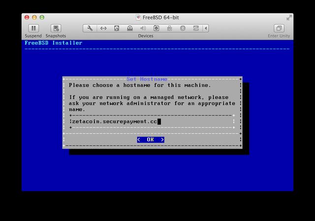 FreeBSD installer Hostname