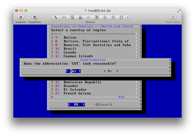 FreeBSD Install select timezone