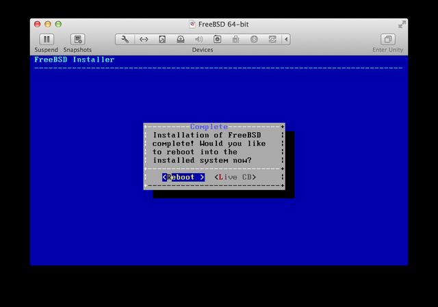 FreeBSD install reboot