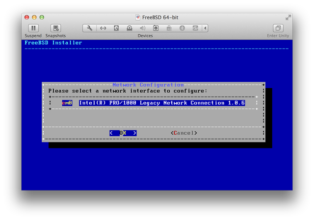 FreeBSD installer select network interface