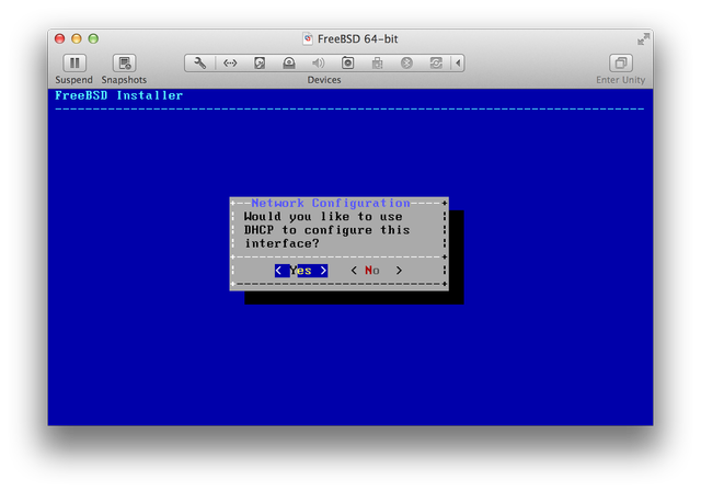 FreeBSD installer DHCP