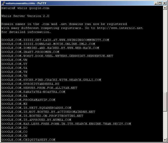 several whois servers hacked